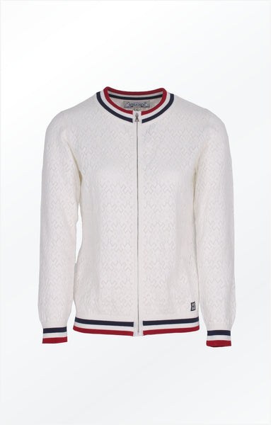 CARDIGAN WITH A PRETTY KNIT PATTERN - WHITE