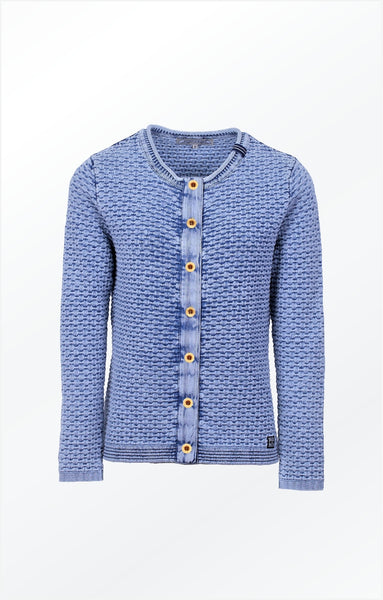 CLASSIC CARDIGAN WITH BUTTONS  - LIGHT INDIGO BLUE