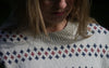 Relaxed Long Off-White Pullover With Stripes for Women from Piece of Blue. Close up.