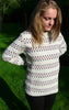 Relaxed Long Off-White Pullover With Stripes for Women from Piece of Blue. On model.