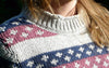 Cozy Off-White Pullover with Nice Collar for Her from Piece of Blue. Close up.