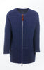 Elegant Long Wool-Cotton Knit Jacket in Dark Indigo for Women from Piece of Blue