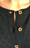 Feminine Cotton-Wool Knitted Cardigan in Dark Indigo for Women from Piece of Blue. Close up.