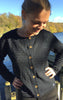 Feminine Cotton-Wool Knitted Cardigan in Dark Indigo for Women from Piece of Blue. Seen on model.