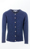 Feminine Cotton-Wool Knitted Cardigan in Dark Indigo for Women from Piece of Blue