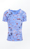 Blue Hand-Printed T-shirt with a Happy Print for Women from Piece of Blue