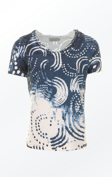 Marine Blue and White Cotton T-shirt with Print for Women from Piece of Blue