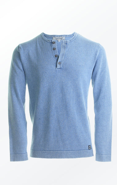 CLASSIC PULLOVER WITH BUTTONS - LIGHT INDIGO BLUE