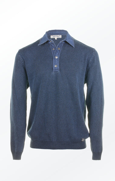 Half-Button Pullover in Dark Indigo Blue for Men from Piece of Blue