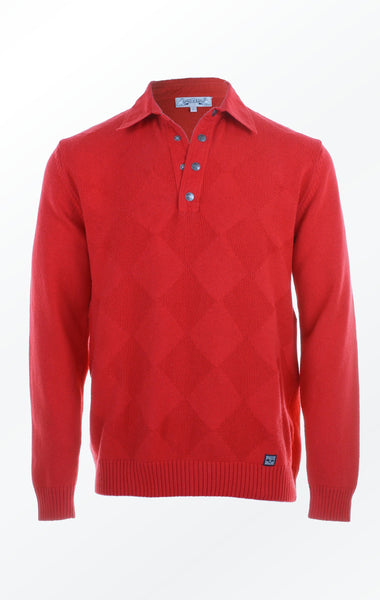 Red V-neck Pullover Knitted in a Diamond Pattern for Him from Piece of Blue