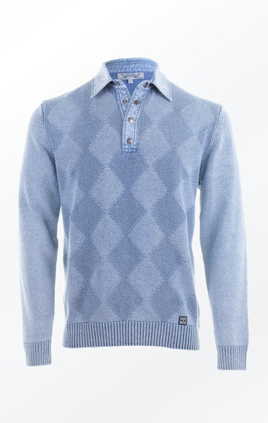 Blue V-neck Pullover Knitted in a Diamond Pattern for Him from Piece of Blue