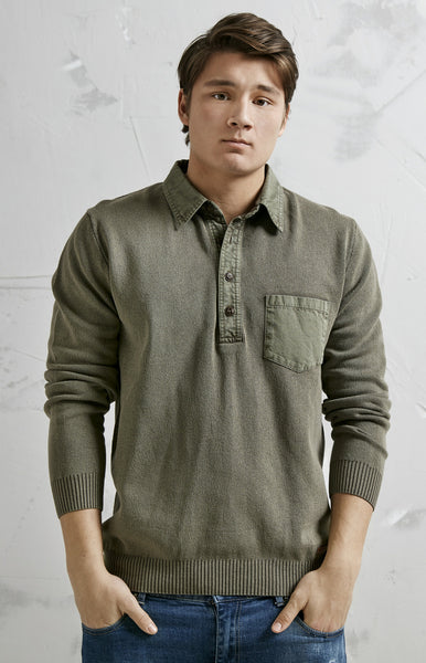 CLASSIC BUTTONING PULLOVER WITH BREAST POCKET - OLIVE GREEN