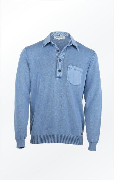 CLASSIC BUTTONING PULLOVER WITH BREAST POCKET - LIGHT INDIGO BLUE