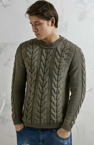 FAT CABLE PULLOVER - OLIVE GREEN