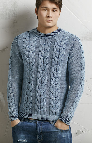 FAT CABLE PULLOVER - LIGHT INDIGO BLUE