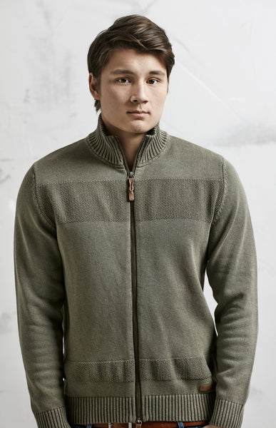 ZIP CARDIGAN - OLIVE GREEN