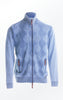 Knitted Cardigan in Light Indigo Blue with a high Collar for Men from Piece of Blue