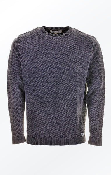Simple O-Neck Black Grey Pullover with Rib for Men from Piece of Blue