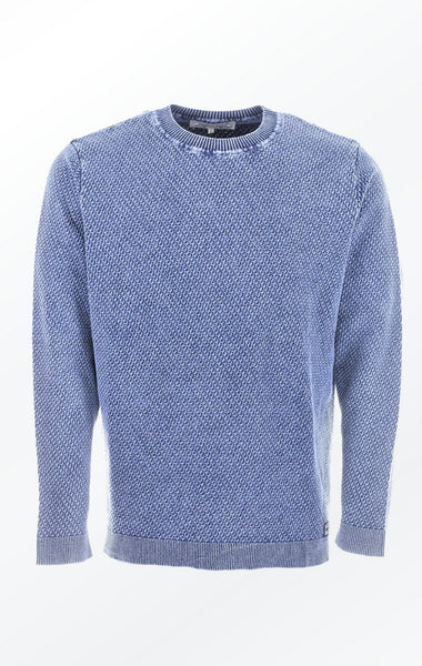 Simple O-Neck Light Indigo Blue Pullover with Rib for Men from Piece of Blue