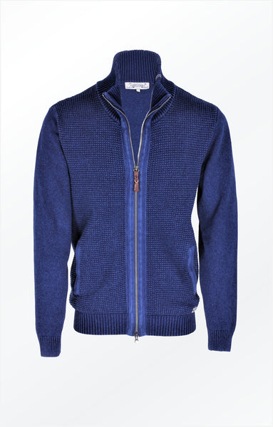 NICE JACKET WITH A HIGH COLLAR AND HERRINGBONE BAND - DARK INDIGO BLUE