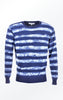 Indigo Blue Cotton Sweater with Stripes for Men from Piece of Blue
