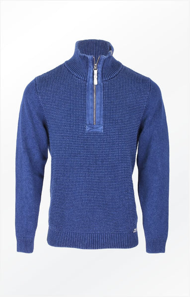 NICE PULLOVER WITH A HIGH COLLAR AND HERRINGBONE BAND - DARK INDIGO BLUE
