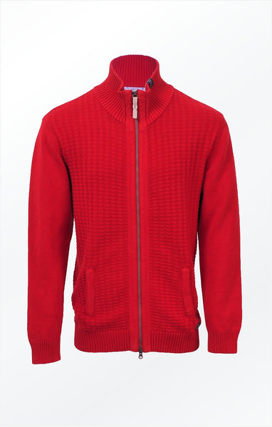 HIGH COLLAR KNITTED CARDIGAN – RED