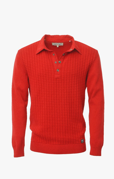 NICE POLO WITH HERRINGBONE BAND - RED
