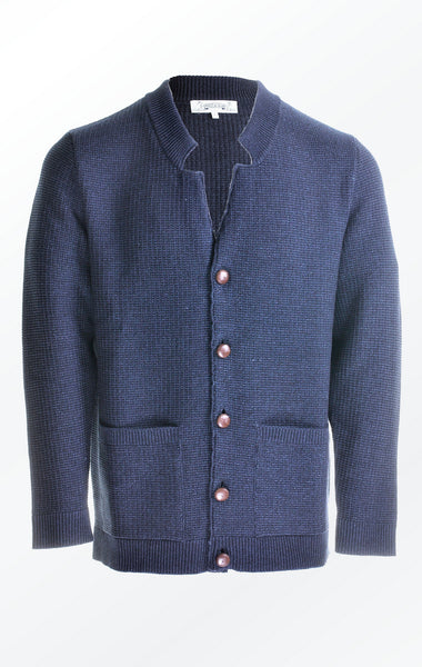 Dark Indigo Knit Jacket in Cotton and Wool for Him from Piece of Blue.