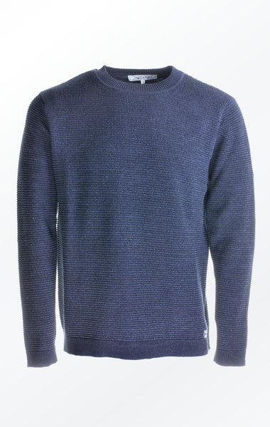 Basic and Well-Dressed Pullover in Dark Blue for Men from Piece of Blue