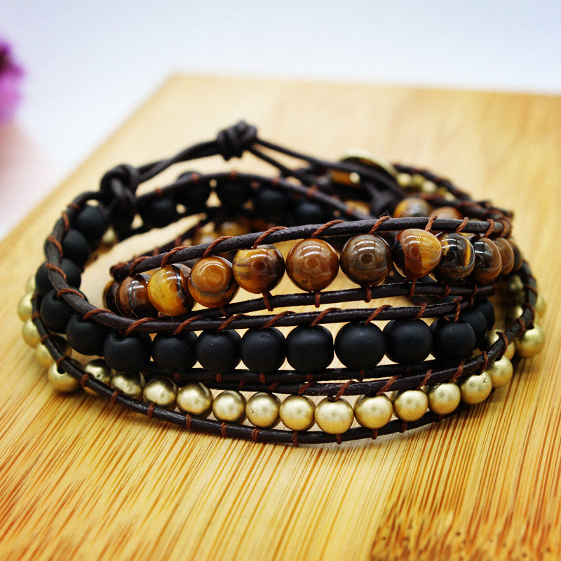 'Confidence' Wrap Bracelet in Tiger Eye and Black Onyx