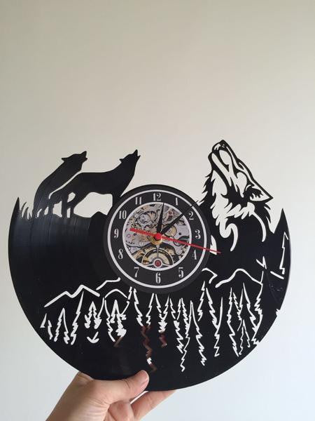 Wolf Vinyl Record Wall Clock