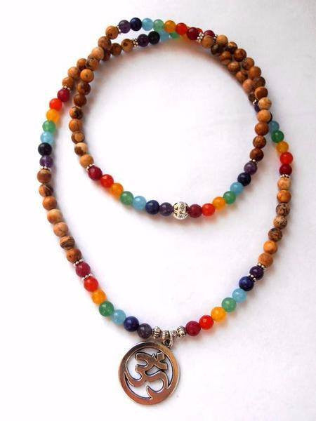 Bracelets - 7 Chakra Ohm Mala (108 Beads) Bracelet/Necklace