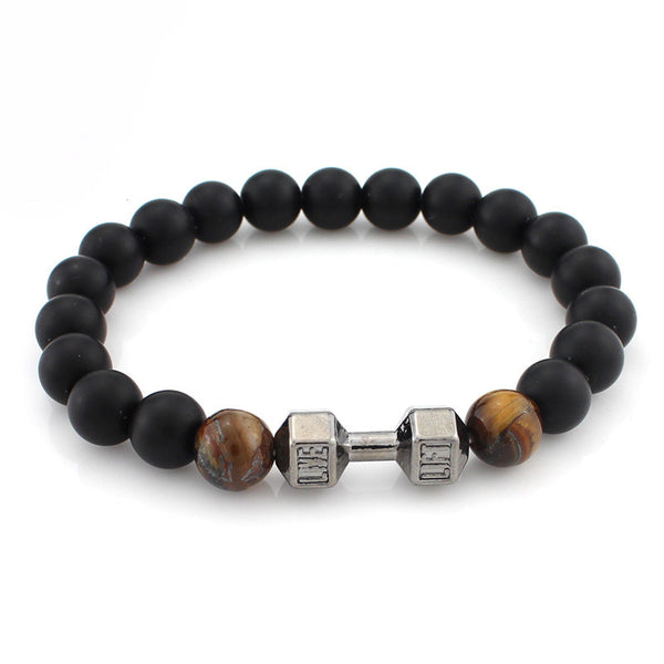 Bracelets - Dumbbel Charm Beaded Bracelets Available Ln Matte Agate Stone And Lava Stone