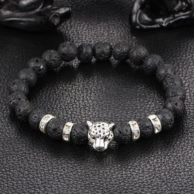 Bracelets - Lava Stone With Antique Crystal Gold And Silver Plated Leopard Head Energy Bracelet