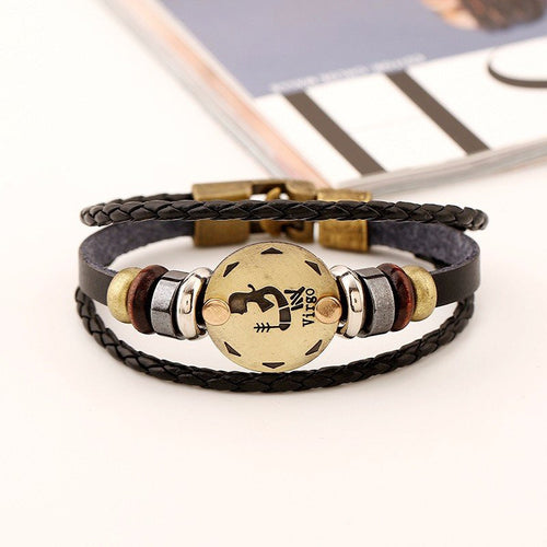 Bracelets - Zodiac Leather Bracelet