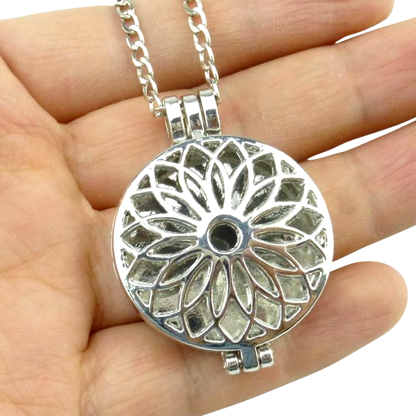 Antique Silver Flower Locket Necklace