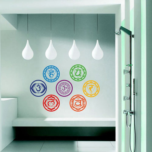 Home Decor   7pcs/set Yoga Chakra Symbol Wall Decals