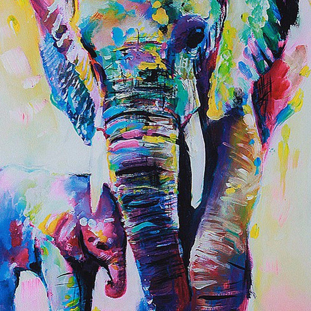 Home Decor - Elephant Canvas Oil Painting