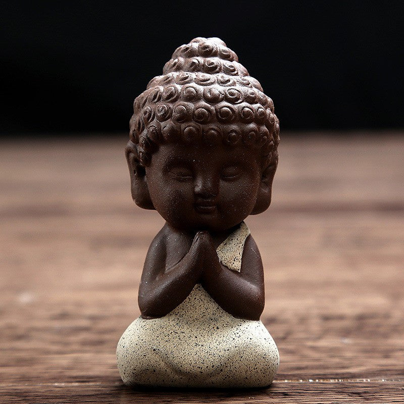 Home Decor - Handpainted Ceramic Little Buddha Figurine