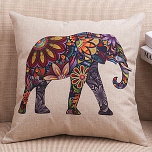 Home Decor - India Floral Elephant  Pillow Case