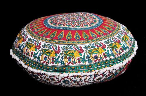 Home Decor - Indian Mandala Pouf Cushion Covers