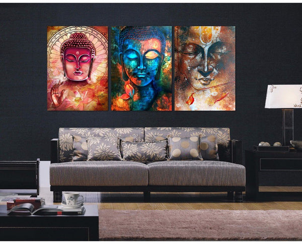 Limited edition buddha transcension 3 piece canvas painting for Dining room paintings sale