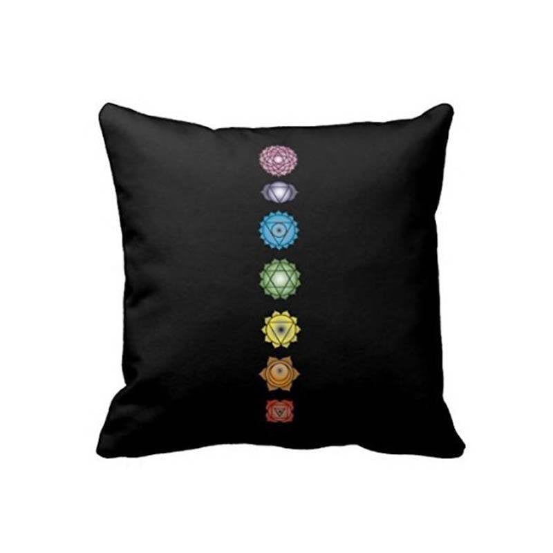 Home Decor - Yoga Chakras Black Pillow Case
