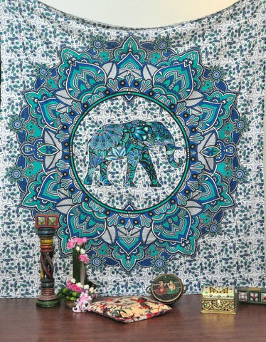 Gana Indian Elephant Mandala Tapestry