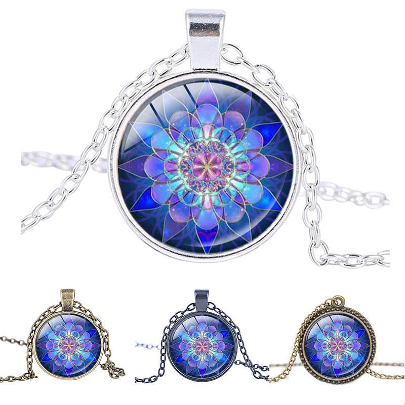 Necklaces - Blue Mandala Glass Necklace