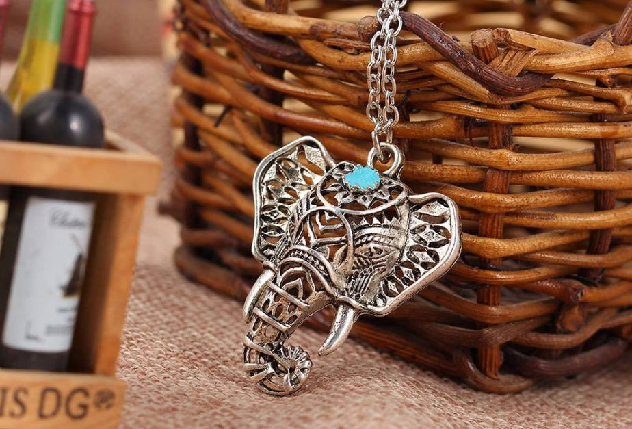 Necklaces - Elegant Turquoise Elephant Necklace