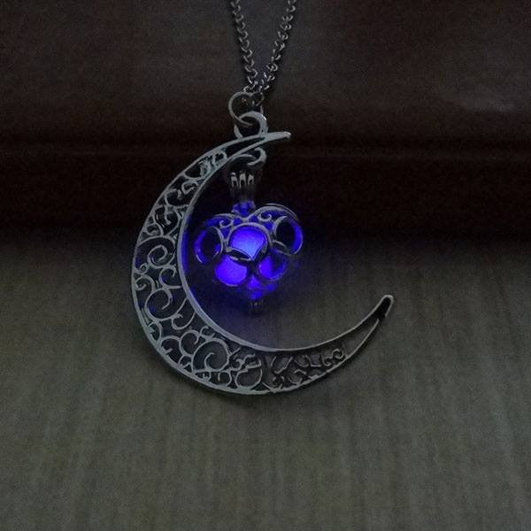 Necklaces - Fluorescence Necklace Moon Love Heart Night