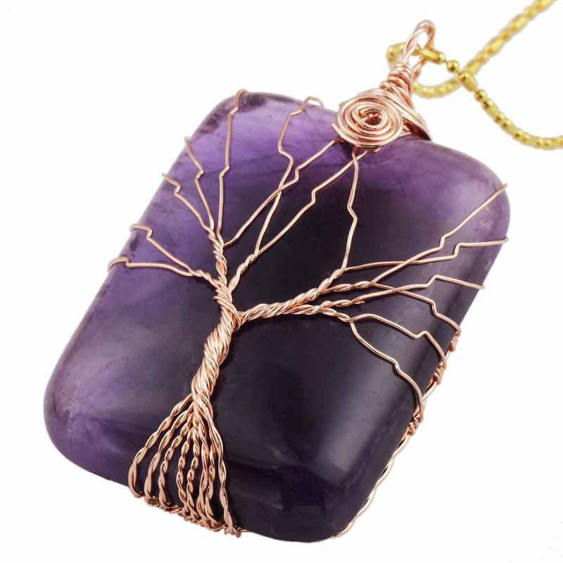 Necklaces - Gem Stone Wrapped Tree Of Life Healing Pendant Necklace