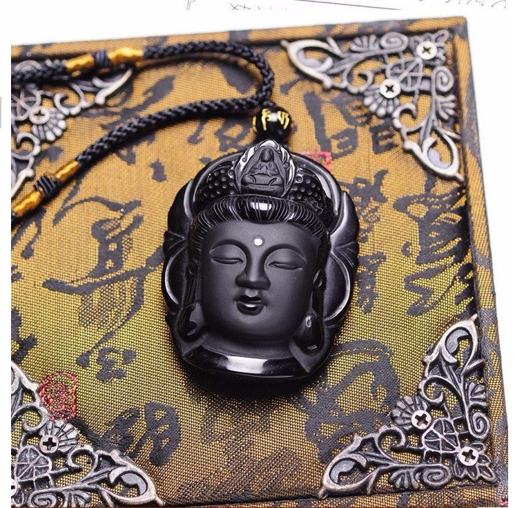 Necklaces - Natural Obsidian Buddha Head Necklace